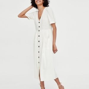 By Together Puff Sleeve Button Down Dress Medium